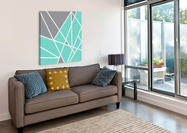 GRAY TEAL TRIANGLES GEOMETRIC ART GAT101 SQUARE EDIT VOROS  Canvas Print