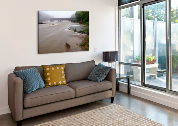 GRAND RIVER RAPIDS AT HARPERSFIELD COVERED BRIDGE OHIO THE FEATHER COTTAGE  Canvas Print