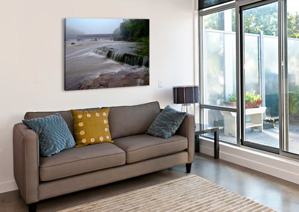 HARPERSFIELD COVERED BRIDGE AND GRAND RIVER RAPIDS THE FEATHER COTTAGE  Canvas Print