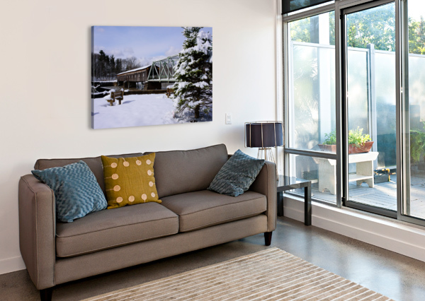 HARPERSFIELD OHIO COVERED BRIDGE WINTER AND SNOW THE FEATHER COTTAGE  Canvas Print
