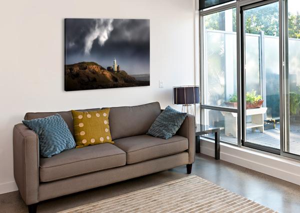 MUMBLES LIGHTHOUSE IN THE RAIN LEIGHTON COLLINS  Canvas Print