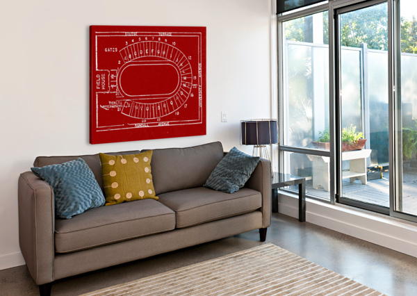 1957 CAMP RANDALL MAP ART ROW ONE BRAND  Canvas Print