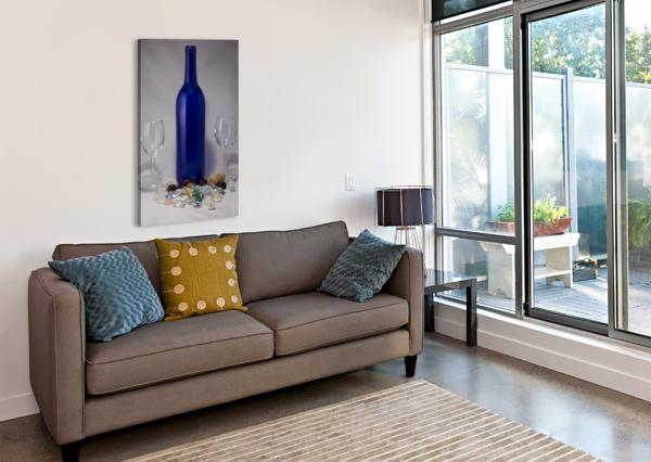 BLUE WINE BOTTLE JACQUELINE SLETER  Canvas Print