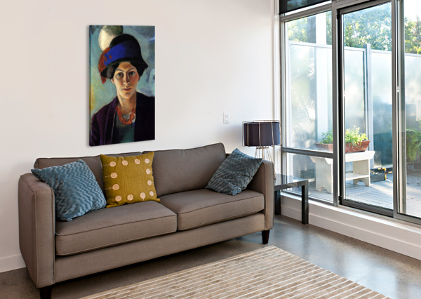 PORTRAIT OF THE WIFE OF THE ARTIST WITH A HAT BY MACKE MACKE  Impression sur toile