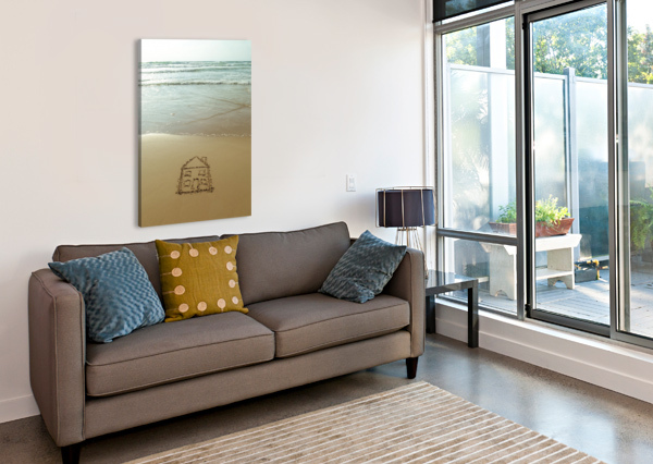 SWEET HOME DRAWN ON SAND AT THE BEACH ASSAF FRANK  Canvas Print