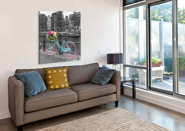 BICYCLE WITH BUNCH OF ROSES ON BRIDGE, AMSTERDAM ASSAF FRANK  Canvas Print