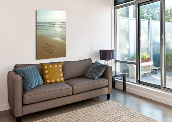 MISS YOU WRITTEN ON THE BEACH ASSAF FRANK  Canvas Print
