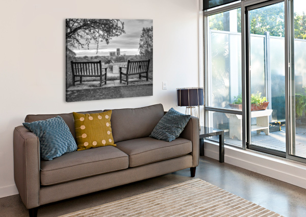 PARK BENCHES WITH DURHAM CATHEDRAL IN BACKGROUND ASSAF FRANK  Canvas Print