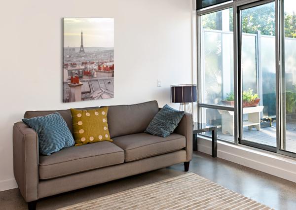 EIFFEL TOWER SEEN THROUGH THE WINDOW OF AN APARTMENT IN MONTMARTRE, PARIS, FRANCE ASSAF FRANK  Canvas Print