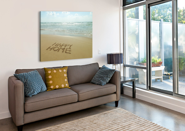 HAPPY HOME WRITTEN IN SAND ON THE BEACH ASSAF FRANK  Canvas Print