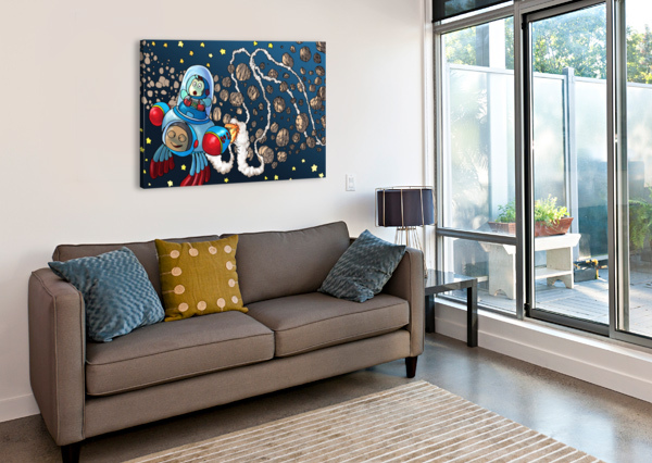 BUZZING AROUND THE SOLAR SYSTEM IN A ROCKET SHIP - BUGVILLE CRITTERS ROBERT STANEK  Canvas Print