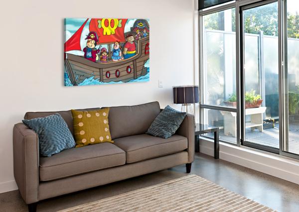 PIRATE SHIP ON THE HIGH SEAS - BUGVILLE CRITTERS ROBERT STANEK  Canvas Print