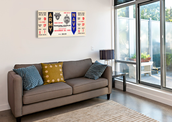 1959 ARMY NAVY GAME TICKET ROW ONE BRAND  Canvas Print