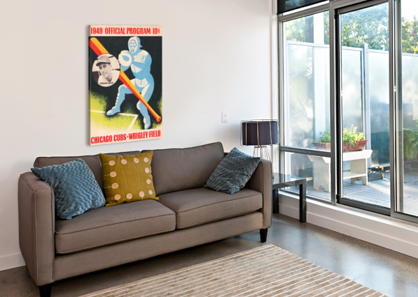 1949 CHICAGO CUBS PROGRAM ART ROW ONE BRAND  Canvas Print