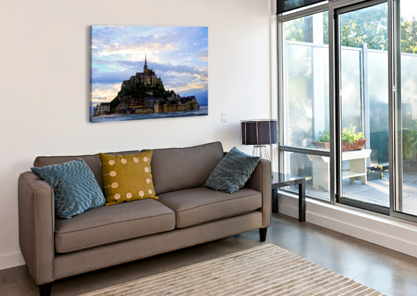 MONT ST MICHAEL RISING TIDE PANORAMA 24  Canvas Print