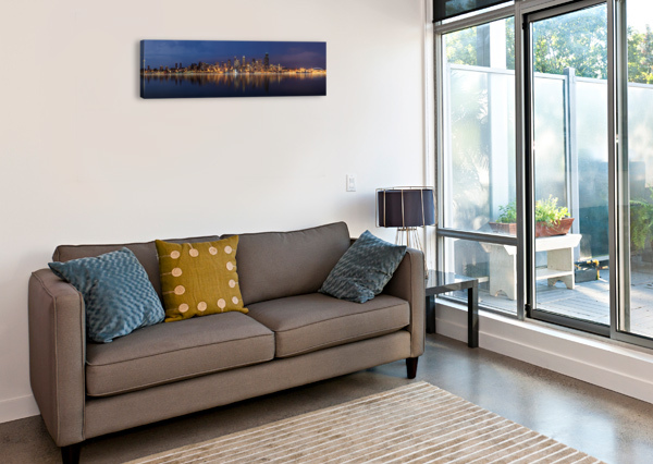 SEATTLE SKYLINE PANORAMA AT NIGHT WESLEY ALLEN SHAW  Canvas Print