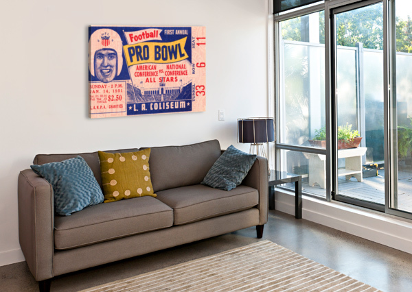 1951 FIRST PRO BOWL TICKET STUB ART ROW ONE BRAND  Canvas Print