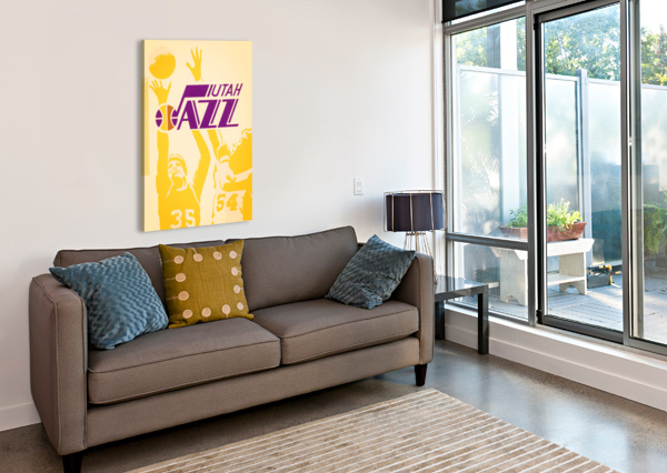 1980 UTAH JAZZ RETRO BASKETBALL ART ROW ONE BRAND  Canvas Print