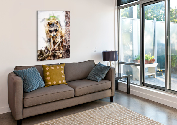 RACCOON IN THE WOODS BOB ORSILLO  Canvas Print