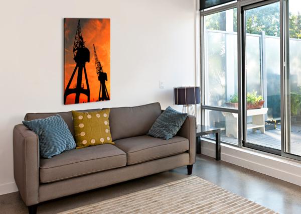 SUNSET PORT TOWER CRANES BENTIVOGLIO PHOTOGRAPHY  Canvas Print