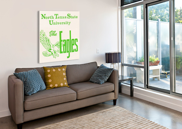 VINTAGE NORTH TEXAS STATE UNIVERSITY EAGLES ART ROW ONE BRAND  Canvas Print