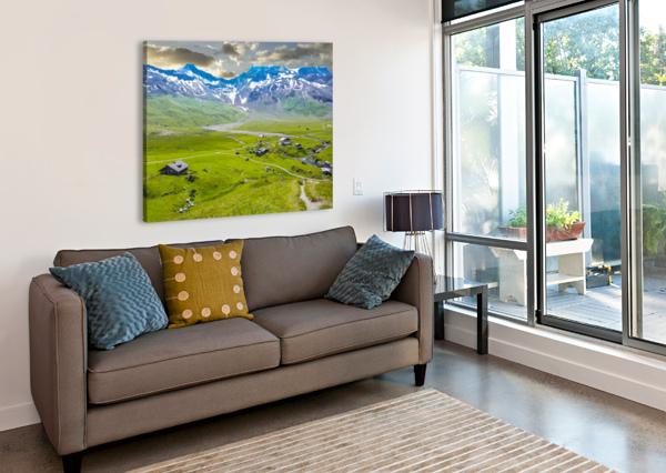 HIGH ALPS VILLAGE IN SPRING SWITZERLAND 1NORTH  Canvas Print