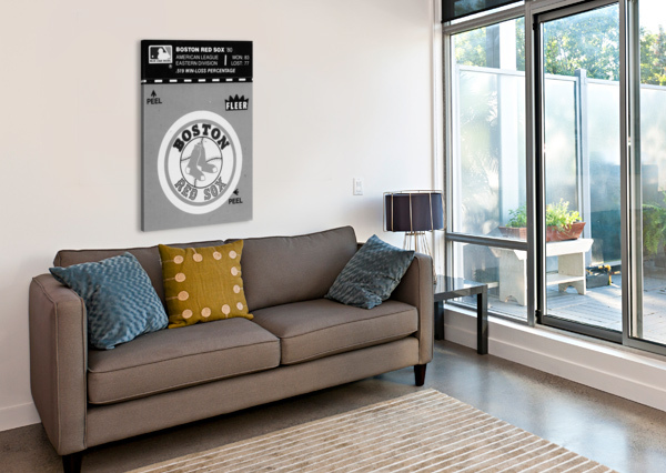 1981 BOSTON RED SOX FLEER DECAL ART BLACK WHITE ROW ONE BRAND  Canvas Print
