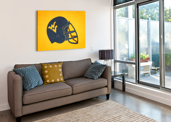 1985 WEST VIRGINIA MOUNTAINEERS FOOTBALL HELMET ART ROW ONE BRAND  Canvas Print