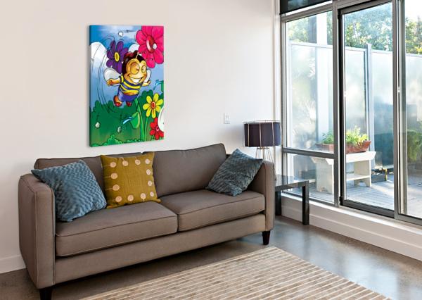 HAPPINESS - FLOWER POWER BUSTER BEE ROBERT STANEK  Canvas Print