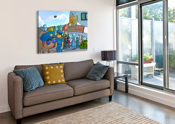 AT THE POLICE DEPARTMENT - PLACES IN BUGVILLE COLLECTION 3 OF 4 ROBERT STANEK  Canvas Print