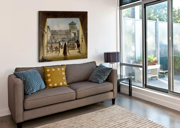 INTERIOR OF FORT LARAMIE ALFRED JACOB MILLER  Canvas Print
