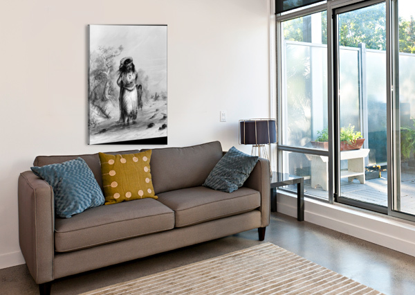 INDIAN GIRL WITH PAPOOSE CROSSING ALFRED JACOB MILLER  Canvas Print