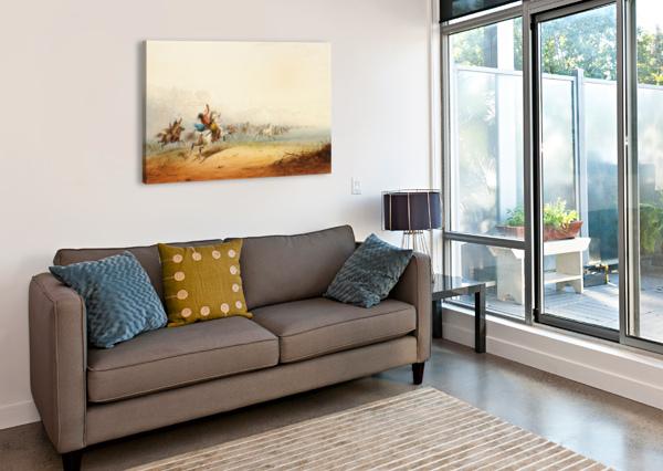 LASSOING HORSES ALFRED JACOB MILLER  Canvas Print