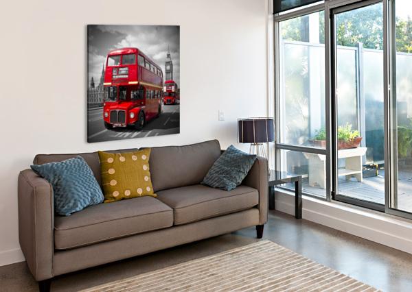 LONDON RED BUSES ON WESTMINSTER BRIDGE MELANIE VIOLA  Canvas Print