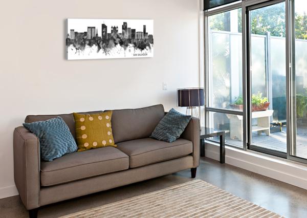 SAN SALVADOR SKYLINE BW TOWSEEF DAR  Canvas Print