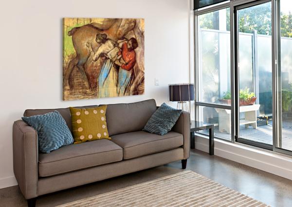 TWO WOMEN WASHING HORSES BY DEGAS DEGAS  Canvas Print