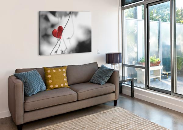 RED HEART SHAPED LEAF CODRINA MICULIT  Canvas Print