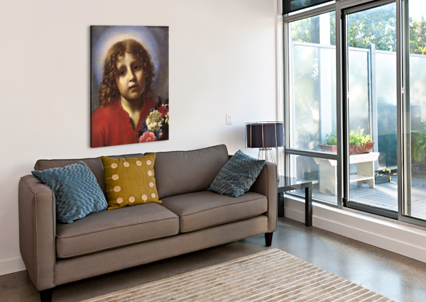 CHILD WITH FLOWERS CARLO DOLCI  Canvas Print