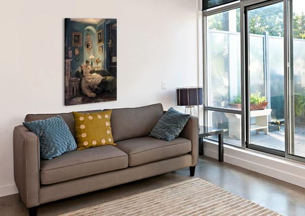 EVENING AT HOME EDWARD POYNTER  Canvas Print