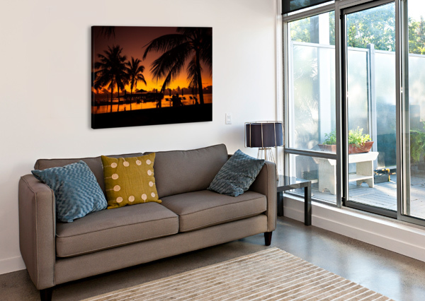 PALM TREES SILHOUETTE ON SUNSET TROPICAL BEACH LEVENTE BODO  Canvas Print