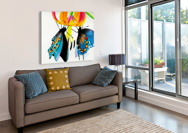 BUTTERFLIES AND LILY HAYLEY BOOTHE  Canvas Print
