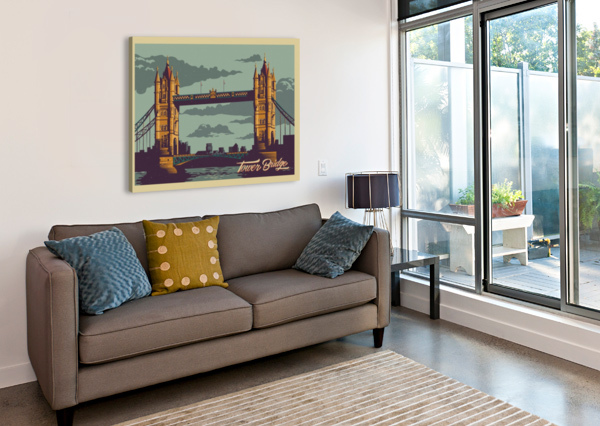 LONDON TOWER BRIDGE VINTAGE POSTER  Canvas Print