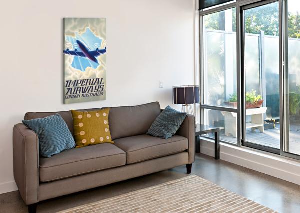 IMPERIAL AIRWAYS LONDON - AUSTRALIA VINTAGE TRAVEL POSTER VINTAGE POSTER  Canvas Print