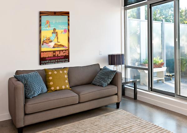 BRUNI PLAGE VINTAGE POSTER  Canvas Print