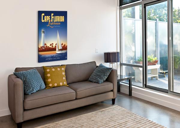 CAPE FLORIDA LIGHTHOUSE VINTAGE POSTER  Canvas Print