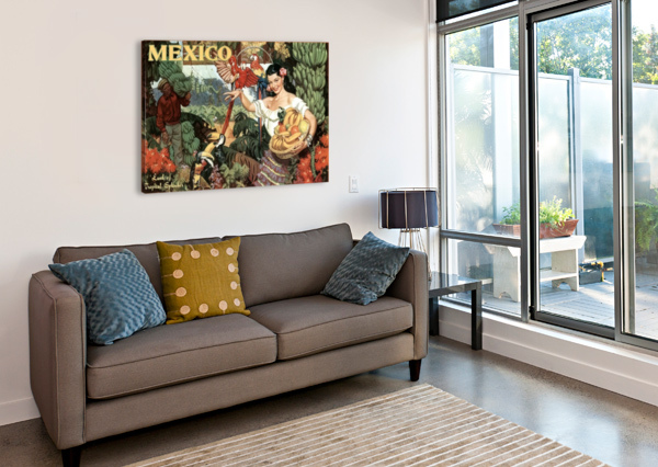 MEXICO LAND OF TROPICAL SPLENDOR VINTAGE POSTER  Canvas Print