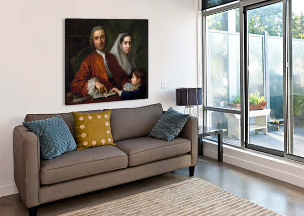 DR SAVATORE BERNARD WITH HIS WIFE AND SON ANTOINE DE FAVRAY  Canvas Print
