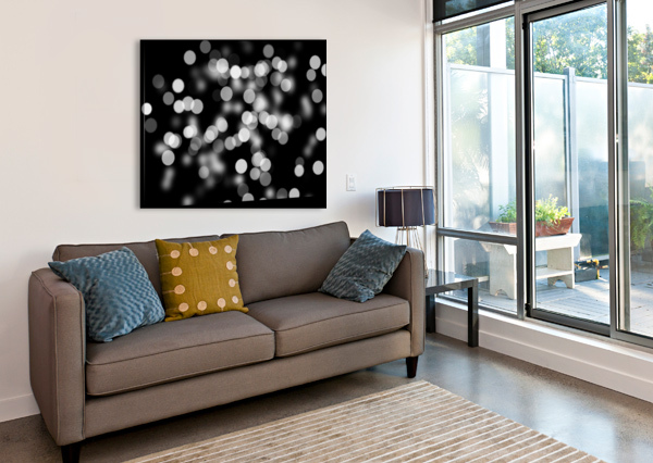 BOKEH OUT OF FOCUS BLACK WHITE BACKGROUND LIGHT STOCK PHOTOGRAPHY  Canvas Print
