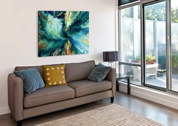 OIL PAINTING ABSTRACT COLOR LINE WAVE DESIGN STOCK PHOTOGRAPHY  Canvas Print