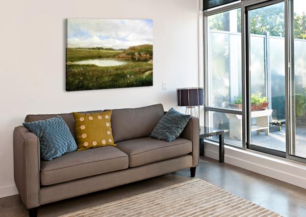 FRESHWATER POND IN SUMMER RHODE ISLAND THOMAS WORTHINGTON WHITTREDGE  Canvas Print